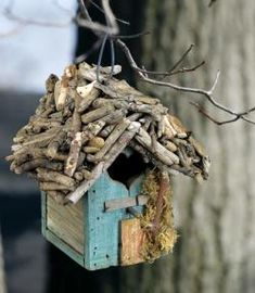 Handcrafted Driftwood Roof Birdhouse