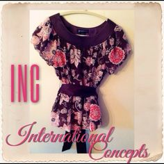 INC Floral Tunic With Sash Belt Pretty Multi Colored Floral Tunic With Puffed Sleeves and Sash that ties in back. INC International Concepts Tops Tunics