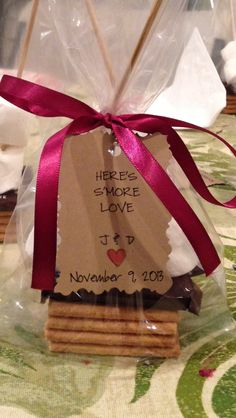Bridal shower favors with PINK heart-shaped marshmallows would be so cute!