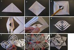 Объёмные снежинки из бумаги своими руками схема