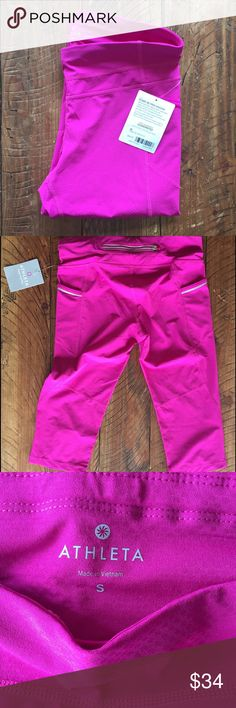 """NWT Cropped Magenta Athleta Workout Pants New with tags Dobby Be Free Knickers"""" size small. Cropped magenta Athleta workout pants for sale. This is a re-posh because they didn't fit. The picture is pretty true to the color- they are a purple/pink. Athleta Pants Ankle & Cropped"""