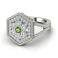 Round Green Tourmaline 14K White Gold Ring with Diamond - lay_down