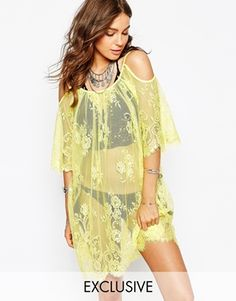 Spiritual Hippie Cold Shoulder Lace Beach Dress