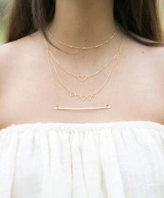 Layered thin necklaces