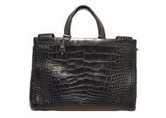 Prada Black Alligator Portfolio Briefcase Tote Bag