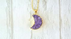 Free Shipping / Moon Shape Druzy Pendant / Purple Druzy Nacklace / Natural Geode Stone / Mineral Jewellery / Gift