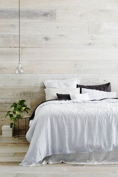 Earthy Bedroom with White Wash Wall & Floor Accent Wall Bedroom, Bedroom Decor, Bedroom With Wood Wall, Bedroom Ideas, Master Bedroom, Wall Decor, Bedroom Rustic, Bedroom Styles, Bedroom Designs