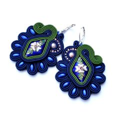 Cloisonne earrings soutache earrings flower by PikLusSoutache