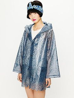 I need a raincoat - and this one is so super chic. It looks like lace. PLUS it has a hood. I don't know what it is about all these raincoats coming out without hoods but it's ridiculous. If it's raining, I need to cover my hair without getting hat hair every time. [Free People Printed Lace Raincoat ($50-100) - Svpply]