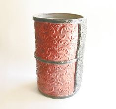 Ceramic Untensils | Ceramic Utensil Holder For Kitchen Or Home Decor Vase    Rust Red And