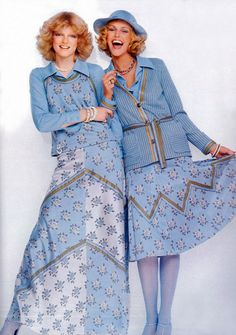March 1975 - UK Vogue how cute are these pastel blue looks! So romantic....