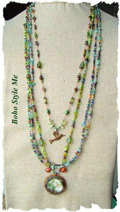 Bohemian Jewelry Nature Girl Bird Nest Pendant by BohoStyleMe