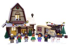 ~ The Winter Village Creamery ~ This local creamery has all your dairy needs. Milk, a wide variety of cheeses, butter, and. Grandpa takes Sam . Lego Christmas Train, Lego Christmas Village, Lego Winter Village, Lego Village, Christmas Villages, Lego Minifigure Display, Lego Display, Casa Lego, Lego Craft