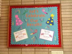 Results bulletin board for our Box Tops and Labels for Education collections at school.