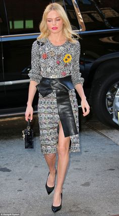 Leggy blonde: Kate Bosworth looked glam and polished as she stepped out in New York City Tuesday