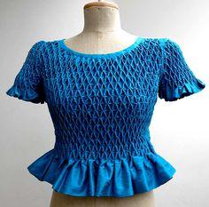 blouse women's smocked silk dupioni beaded dressy by FelixvanDriem, €250.00