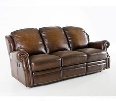 TOBACCO LEATHER RECLINING SOFA