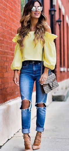 casual style addiction: yellow top + ripped jeans + heels