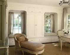 built in window seats and closets
