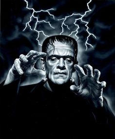 The legendary Frankenstein Monster as portrayed in the 1931 Universal classic horror film by the brilliant English actor, Boris Karloff. Classic Monster Movies, Classic Horror Movies, Classic Monsters, Horror Vintage, Retro Horror, Arte Horror, Horror Art, Funny Horror, Beetlejuice