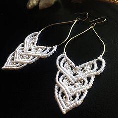 Sterling silver macrame earrings DIY white macrame earrings