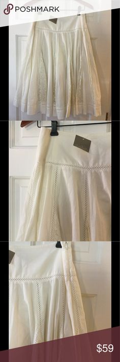 """🆕 Edme & Esyllte ivory cotton skirt Lovely ivory cotton drop-pleat style skirt. Flat waistband with side zipper. Beautiful lace panels within pleats. 100% cotton, fully lined.  Waist across 14"""". Length 25"""".  Brand new with tag.  Smoke free and pet free. Anthropologie Skirts A-Line or Full"""