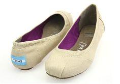 Toms Womens Dancing Flat Shoes Beige