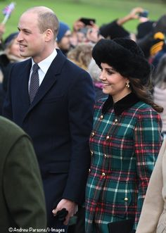 December 25, 2017 ~ TRH Prince William, Duke of Cambridge and Catherine, Duchess of Cambridge join other members of the royal family as they walk to St. Mary Magdelene Church in Sandringham for the Christmas service.