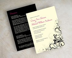 Swirly Vine Formal Wedding Invitations. Shown in fuchsia, hot pink, magenta, black, ivory. Printed front and back. www.appleberryink.com