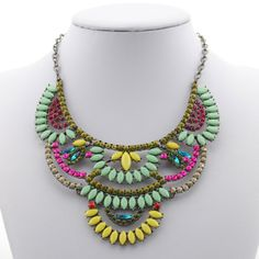Wholesale Retro Colorful Beads Openwork Pendant Necklace For Women (7.89)