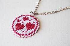 Rose Cross Stitch Necklace - Hearts in a Circle