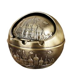 Honoro Vintage Cigarettes Ashtray with Lids,Windproof Metal Castle Cigar Ashtray for Home Office Tabletop Decoration,Gift Ashtray,Bronze ** See this awesome image  : Decor Ashtrays