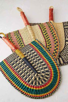 African Market Baskets Hand-Woven Bolga Fan- Assorted One