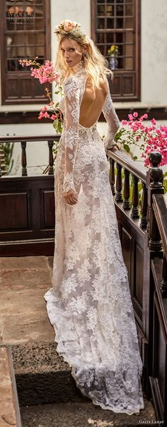 galia lahav couture fall 2018 bridal long sleeves high neck full lace embelliishment elegant sheath wedding dress open back sweep train (12) bv -- Galia Lahav Couture Fall 2018 Wedding Dresses