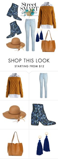 """Cable Knit Sweater"" by hastypudding ❤ liked on Polyvore featuring Chicwish, J Brand, Steve Madden, Strategia and Shashi"