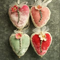 Handmade silk velvet hearts with vintage millinery flowers. Sewn and stitched for my Etsy Shop update today Velvet Heart, Pink Velvet, Valentine Day Love, Vintage Valentines, Valentine Decorations, Valentine Crafts, Crepe Paper Garland, Fabric Journals, Fabric Art