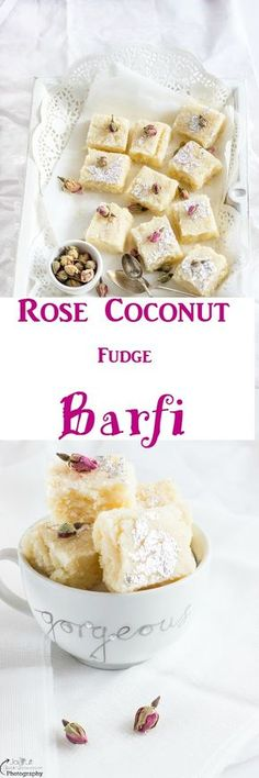 Rose Coconut Barfi - Fudge - Pin it to save it for later ! Rose Coconut Barfi is elegant and simplistic against the riot of colours as the Navratri festival begin. Best Dessert Recipes, Sweets Recipes, Easy Desserts, Delicious Desserts, Yummy Food, Diwali Recipes, Veg Recipes, Baking Recipes, Dinner Recipes