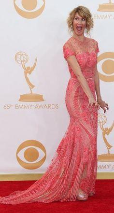 LAURA DERN in Naeem Khan enjoying the 2013 Emmy's