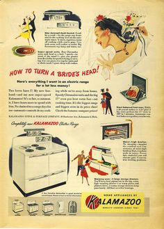 How to turn a bride's head! KALAMAZOO Electric Range! 1949 by bigcats1934, via Flickr