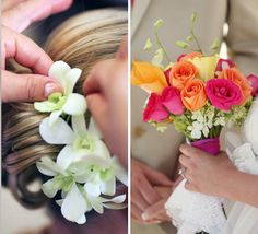 Tropical hair and bouquets of orange roses, white orchids, and orange/yellow calla lilies | Photo by Alison Conklin Photography