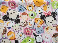Disney Tsum Tsum Print Fabric Japanese Cotton Fabric 1 Yard