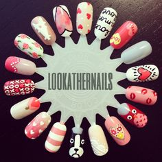 I (almost) finished an entire Valentine's day nail wheel in one sitting today! I think it's one of my new faves!