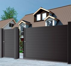 COFRECO - Portail Vermont alu coulissant. www.cofreco.com Main Entrance Door Design, Front Gate Design, Main Gate Design, Door Gate Design, Fence Design, Vermont, House Wall Design, Backyard Gates, Metal Garden Gates