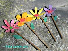 Hand Painted Metal Garden Art Flowers/ Set Of by PatsGardenArt, $30.00
