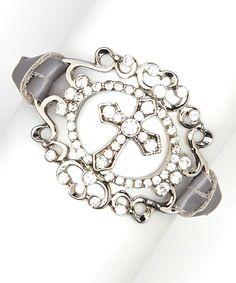 Loving this I Love Accessories Gray Rhinestone Cross Leather Bracelet on #zulily! #zulilyfinds