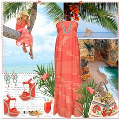 """Coral Summer"" by annabu ❤ liked on Polyvore"