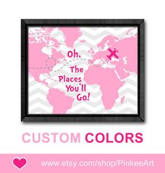 pink gray baby girl artwork oh the place you'll go baby dr seuss quotes wall decor oh the places you nursery art girl nursery toddlers art on Etsy, $12.28 CAD