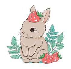 Cute Bunny With Strawberry. Berry Sweet. Illustration.