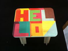 'Hello' flat pack plywood stool by Rude