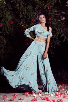 By Designer Mahima Mahajan, This Set Features A Aquamarine Blue One Off-Shoulder Full Sleeve Ruffle Blouse And Printed Palazzo Set. Shantoonsleeve Type: Off-Shoulderneck: Half Off-Shoulder; Full Sleevecare: Dry Clean Only Pool Party Dresses, Pool Party Outfits, Indian Gowns, Indian Attire, Indian Wear, Lehenga, Anarkali, Sharara, Indian Wedding Outfits